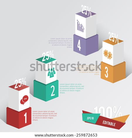 box info graphic web elements with steps of actions - stock vector