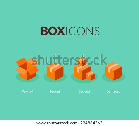 Box logo template, flat icons vector set - stock vector
