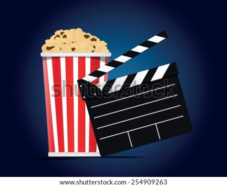 box of popcorn on a blue background - stock vector