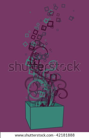 Box, swirls, squares and background are all on separate layers. Easy to change colors or add and subtract. - stock vector