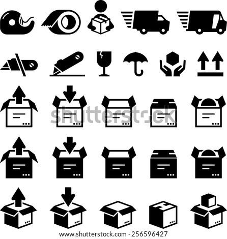 Box symbols. - stock vector