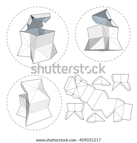 Box with Die Cut Template. Packing box For Food, Gift Or Other Products. On White Background Isolated. Ready For Your Design. Product Packing Vector EPS10. - stock vector