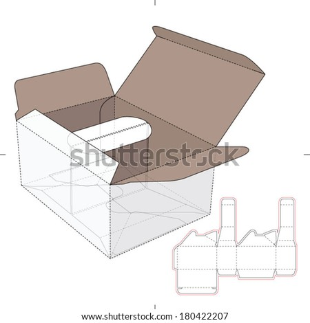 Box with Divider Rim Splitter and Die-cut Pattern - stock vector