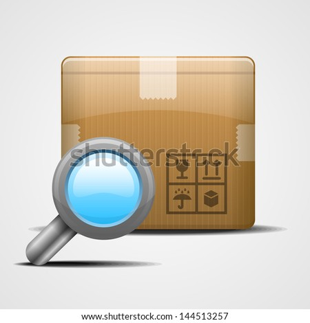 Box with magnifying glass. Vector illustration eps 10 - stock vector