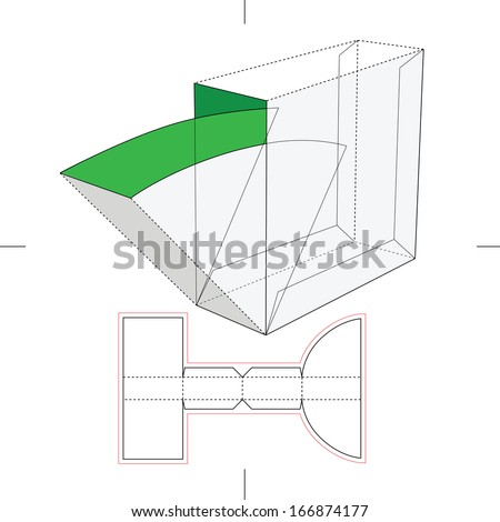 Box with Take One Flop and Blueprint Layout - stock vector