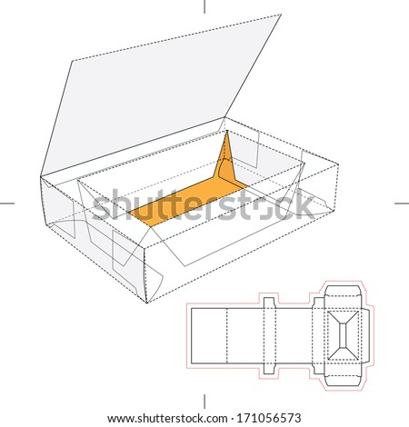 Box with Think Lid, Flip-Flop Lid and Blueprint Layout - stock vector