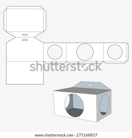 Box with triangular windows. Packing box For Food, Gift Or Other Products. On White Background Isolated. Ready For Your Design. Product Packing Vector EPS10 - stock vector