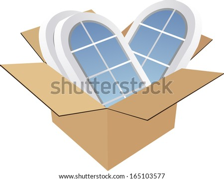 box with windows - stock vector