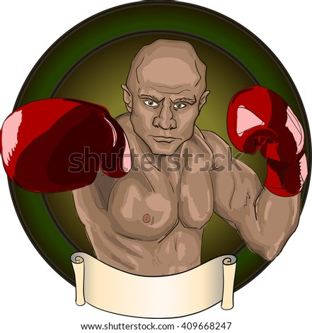 Boxer in red gloves, punch - stock vector
