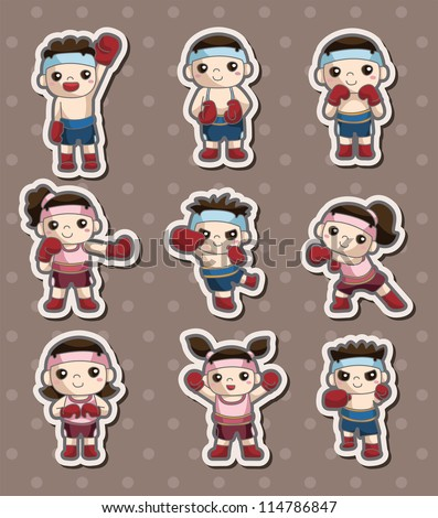 boxer player stickers - stock vector