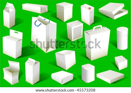 Boxes and packages Set Vector. Also available in raster. - stock vector