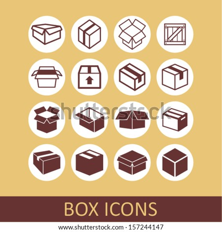 Boxes icons - stock vector
