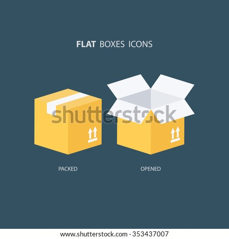 Boxes icons set. Packed box. Opened box. Carton package box icons. Vector illustration. - stock vector