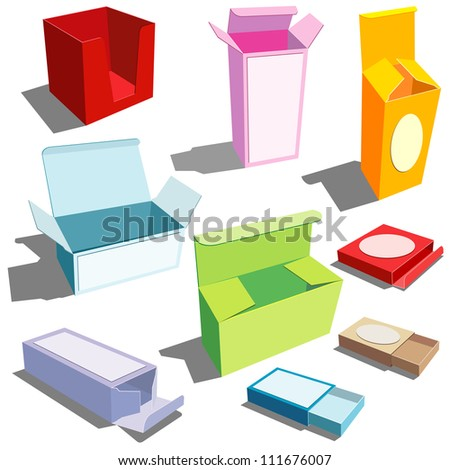 boxes in many colors - stock vector