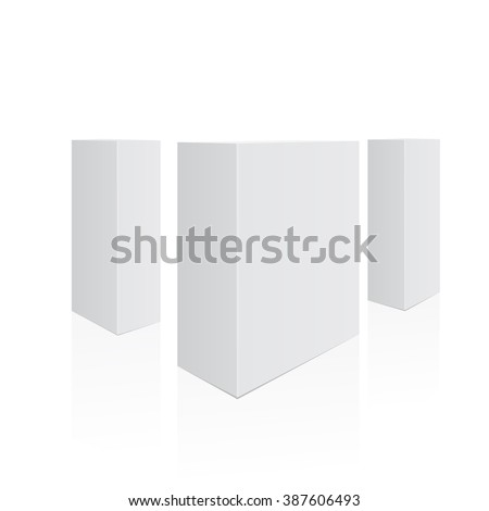 Boxes in perspective. Set of realistic tall boxes. Vector illustration, eps 10 - stock vector