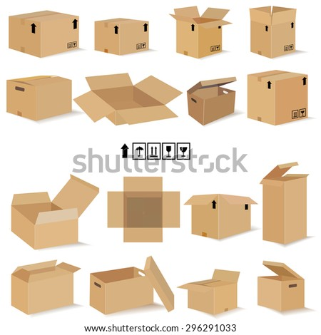 boxes in vector. Set for design in vector. Packaging and containers - stock vector