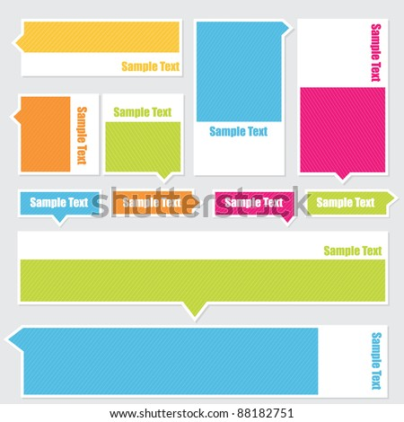 Boxes with space for text flat color, no gradients. - stock vector