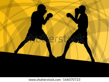 Boxing active young men box sport silhouettes vector abstract background illustration - stock vector