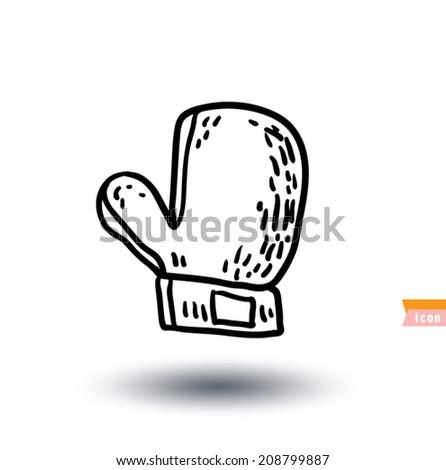 Boxing glove icon, Hand drawn vector illustration. - stock vector
