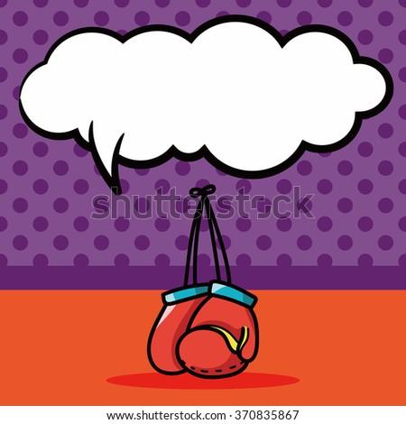 Boxing gloves doodle, speech bubble - stock vector