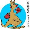 boxing kangaroo - stock vector
