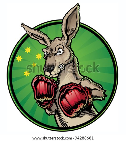 Boxing Kangaroo - stock vector