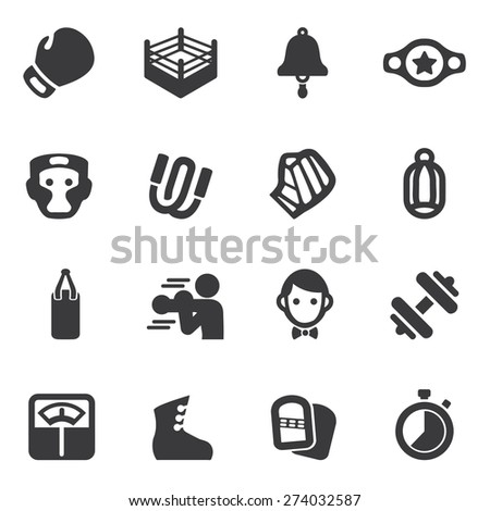 Boxing Silhouette Icons - stock vector