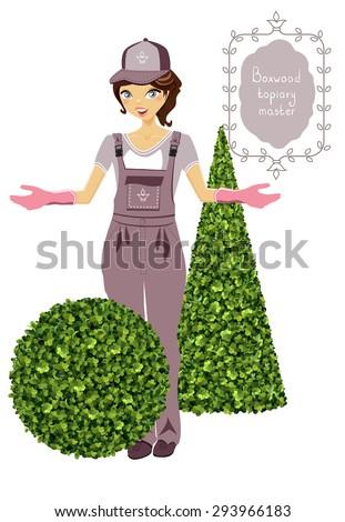 Boxwood topiary master, gardener, garden plant, vector background. Decorative trimming boxwood. Shrub for landscape. - stock vector