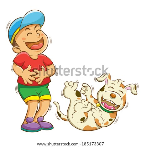 boy and dog laughing.EPS10   - stock vector