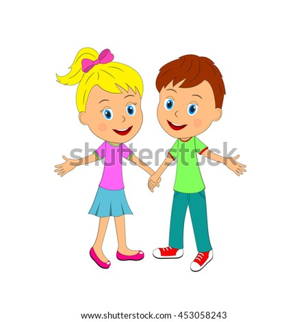 boy and girl are holding hands and smile, illustration, vector - stock vector