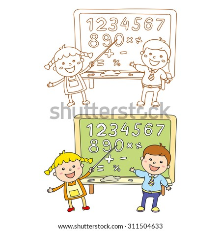 Boy and girl at classroom studying maths lesson solving operations art - stock vector