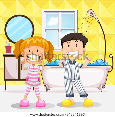 Boy and girl brushing teeth in the bathroom illustration - stock vector