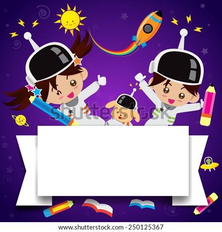 Boy and girl cartoon on the galaxy space vector illustration - stock vector