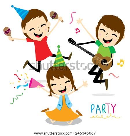 Boy and Girl Enjoy Party Cute Cartoon Vector - stock vector