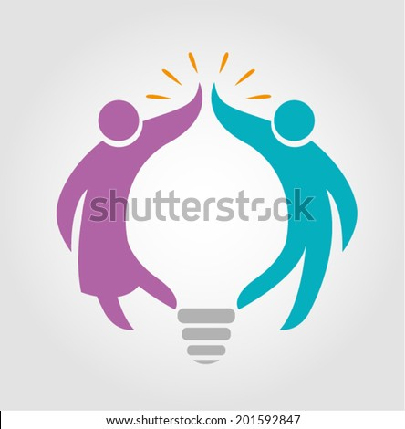 Boy and Girl form a Bulb shape Vector - stock vector