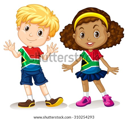 Boy and girl from South Africa illustration - stock vector