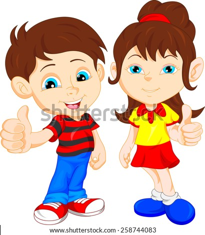 boy and girl giving thumb up - stock vector