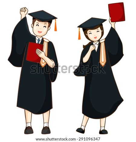 boy and girl graduate from high school vector illustration - stock vector
