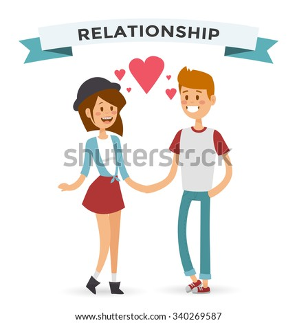 Boy and girl happy family couple in love Women and men in love, modern family. Young couple celebrate wedding or valentine day. Modern family portrait. Typical family. People couple love. People love - stock vector