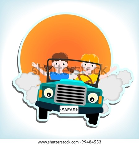 boy and girl in blue car with and sun - kid vector illustration - stock vector