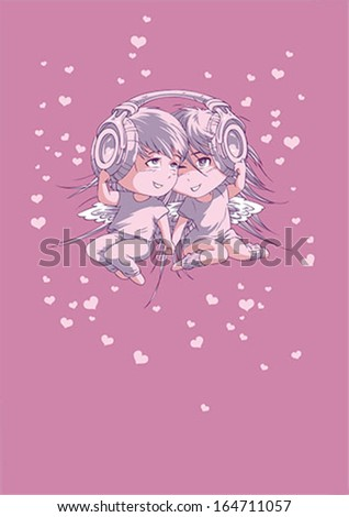 Boy and girl in headphones - Valentines Day postcard - stock vector