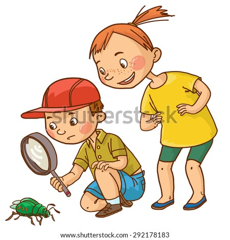 Boy and girl looking at beetle insect. Back to School isolated objects on white background. Great illustration for a school books and more. VECTOR. Editorial. Education.  - stock vector