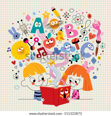 boy and girl reading book education concept illustration - stock vector