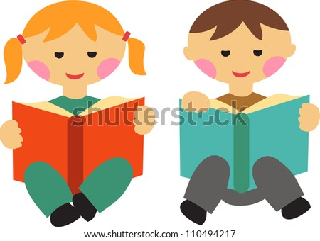 boy and girl reading books, back to school - stock vector