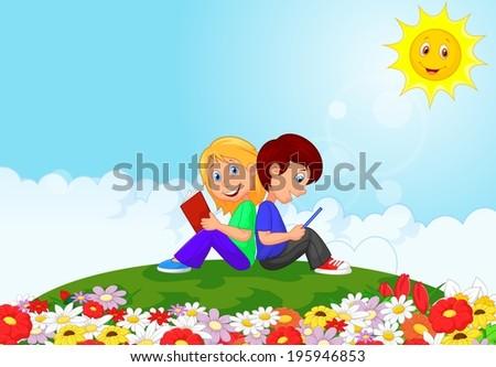 Boy and girl reading books in the flower garden - stock vector
