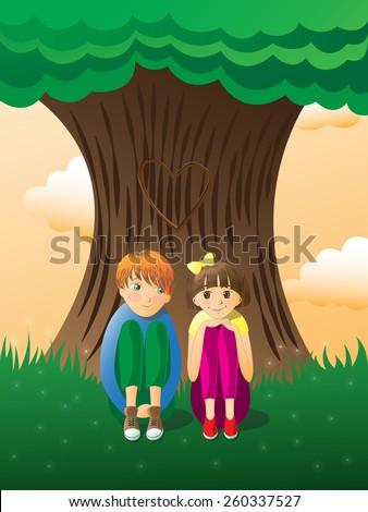 Boy and girl sit near big tree - stock vector