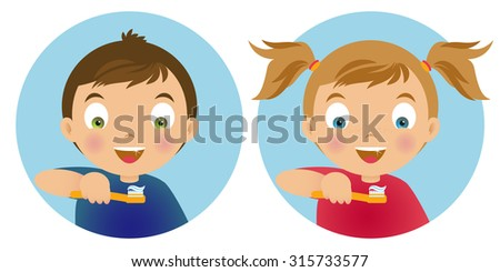 Boy and girl smiling , holding in his hand a toothbrush with toothpaste. Vector illustration. EPS10 - stock vector