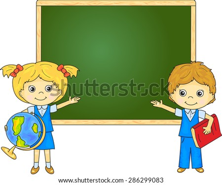 Boy and girl standing near the blackboard in a classroom. Vector illustration for children - stock vector