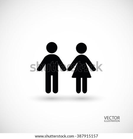 Boy and girl symbol. Vector illustration. - stock vector