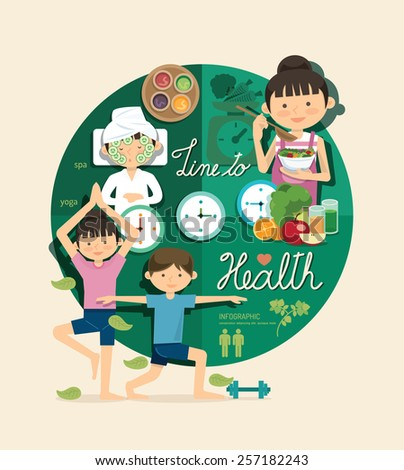 Boy and girl time to health and beauty design infographic,people learn concept vector illustration - stock vector
